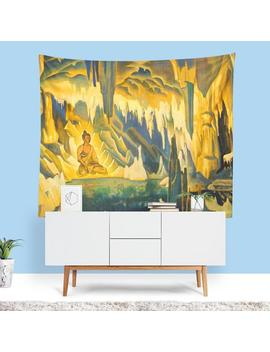 Modern Art Tapestry, Buddha Wall Art, Modern Cave Painting, Contemporary Art, Cave Theme, Nature Home Decor, Cave Art, Unique Gifts by Etsy