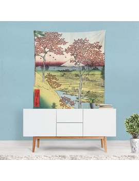 Japanese Sunset Tapestry, Classic Wall Art, Famous Painting, Nature Art, Vintage Wall Hanging, Japanese Decor, Nature Theme, Trees by Etsy
