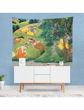 Indian Art Tapestry, Colorful Wall Art, Nature Wall Art, Indian Painting, Hindu Wall Hanging, Artistic Decor, Painting, Artistic Gifts by Etsy