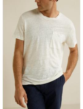 Pocket 100% Linen T Shirt by Mango
