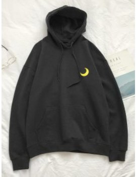 Popular Sale Creative Weather Embroidery Kangaroo Pocket Fleece Hoodie   Black L by Zaful