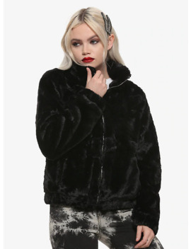 Black Faux Fur Girls Bomber Jacket by Hot Topic