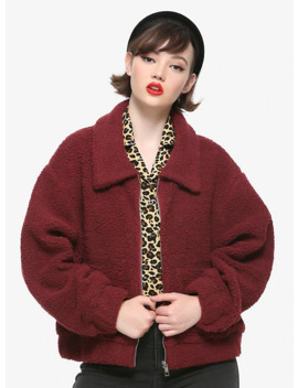 Burgundy Sherpa Girls Jacket by Hot Topic