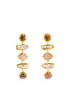 Multi Stone And Faux Pearl Drop Clip Earrings by Sylvia Toledano