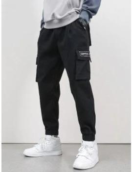 Popular Sale Letter Embroidery Flap Pocket Cargo Jogger Pants   Black S by Zaful