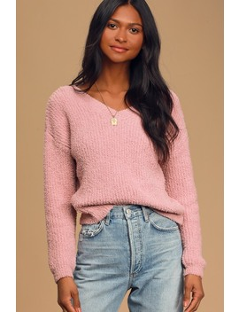 Hold Me Close Mauve Knit Sweater by Lulus