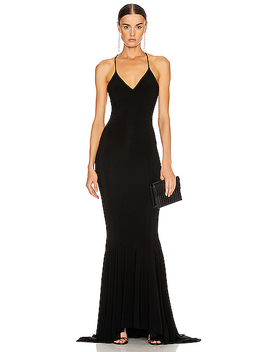 Low Back Slip Mermaid Fishtail Gown by Norma Kamali