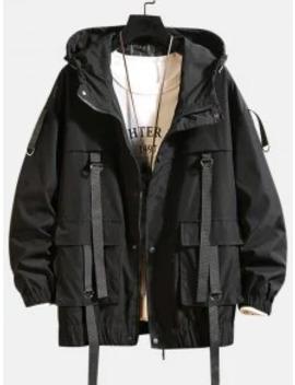 Popular Sale Solid Color Pocket Decorated Hooded Jacket   Black L by Zaful