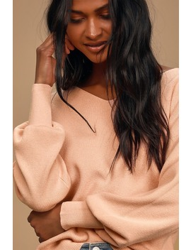 Absolutely Charming Blush Pink Ribbed Balloon Sleeve Sweater Top by Lulus