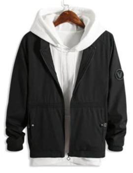 Sale Color Spliced Zip Up Pocket Decorated Jacket   Black S by Zaful