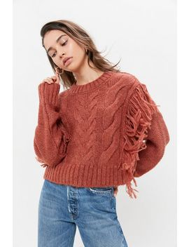 Uo Faye Shimmer Fringe Cable Knit Sweater by Urban Outfitters