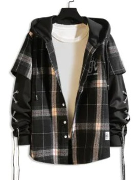 Letter Plaid Pattern Hooded Jacket   Black M by Zaful