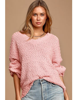 Happily Ever Effortless Light Pink Knit Distressed Sweater by Lulu's