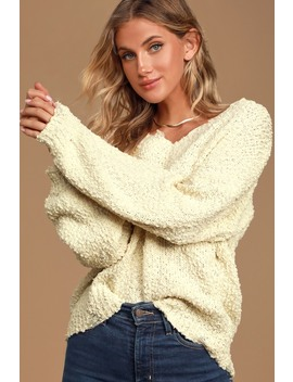 Happily Ever Effortless Cream Knit Distressed Sweater by Lulu's