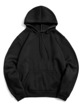Popular Sale Solid Color Pocket Design Casual Hoodie   Black L by Zaful