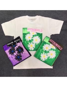 Travis Scott Astroworld Festival Run Flower Tee T Shirt Hip Hop Men Women 1:1 High Quality Travis Scott Astroworld T Shirt by Ali Express.Com
