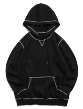 New Zaful Stitching Decorated Solid Color Casual Hoodie   Black M by Zaful