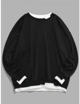 Salezaful Colorblock Splicing Faux Twinset Drop Shoulder Sweatshirt   Black M by Zaful