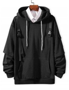 Sale Faux Twinset Side Pocket Strap Embellished Hoodie   Black S by Zaful