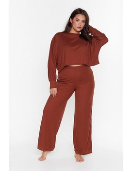 Recyced Time To Unwind Plus Wide Leg Lounge Set by Nasty Gal