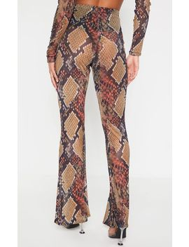 Brown Snake Print Sheer Mesh Flares by Prettylittlething