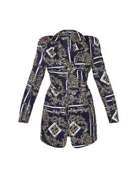 Multi Oriental Snake Print Pin Detail Corset Blazer Dress by Prettylittlething