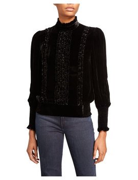 Frame Mock Neck Long Sleeve Button Back Ruffled Velvet Top by Frame