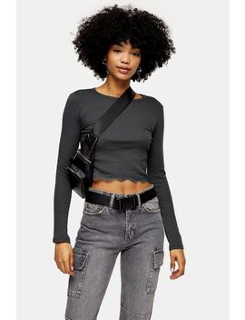 Charcoal Grey Long Sleeve Lace Trim Top by Topshop