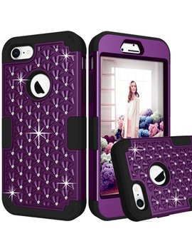 I Phone 8 Case, I Phone 7 Case, Allytech Bling Shiny Rhinestone Heavy Duty Protective Hard Shell Soft Rubber Bumper Air Cushion Technology Impact Defender Phone Case For Apple I Phone 8/ 7, Purple by Allytech