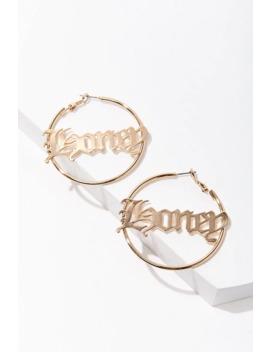 Honey Pendant Hoop Earrings by Forever 21