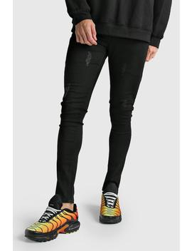 Skinny Jeans With Abraisions by Boohoo