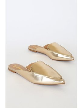 Joelle Gold Loafer Slides by Lulus
