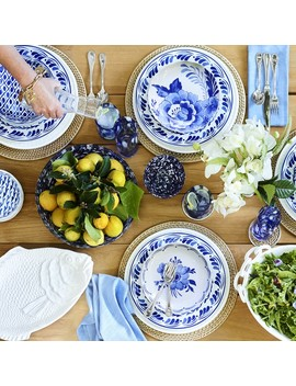 Aerin Sea Blue Floral Dinner Plates by Williams   Sonoma