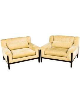 Pair Of Mid Century Modern Style Upholstered Lounge Chairs by Furniture