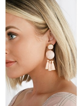 Afton Blush Tassel Earrings by Lulus