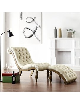 Weston Home Beige Linen Button Tufted Chaise And Ottoman   Light Distressed Driftwood by Weston Home