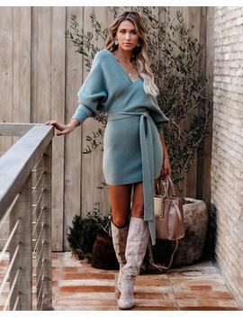 Kara Drape Knit Sweater Dress   Sage by Vici
