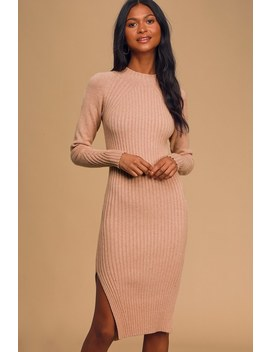 Snuggle Party Blush Pink Mock Neck Midi Sweater Dress by Lulus