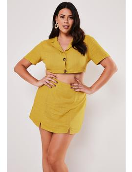 Plus Size Yellow Co Ord Linen Look Cropped Shirt by Missguided