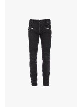 Slim Cut Black Cotton Jeans With Balmain Monogram by Balmain