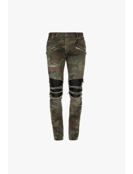 Slim Cut Ripped Camouflage Cotton And Pleather Jeans by Balmain