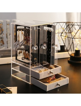 Transparent/Black Dustproof Acrylic Earrings Jewelry Storage Box Display Stand Drawers Rack Holder Not Including Jewelry by Wish