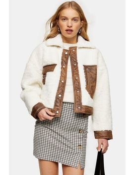 Cream Pocket Borg Jacket by Topshop