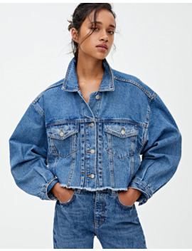 Oversize Cropped Denim Jacket With Pleats by Pull & Bear
