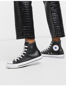 Converse Chuck Taylor All Star Hi Black Leather Sneakers by Converse