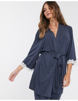 Dorina Cordelia Modal And Lace Robe In Gray by Dorina