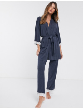 Dorina Henrietta Modal And Lace Pyjama Bottom In Gray by Dorina
