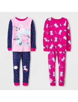 Toddler Girls' 4pc Peppa Pig Long Sleeve Pajama Set   Pink by Peppa Pig