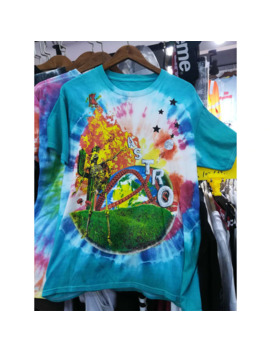 Travis Scott Astroworld T Shirts 2019 World Smiley Tie Dye Colors Travis Scott T Shirt Men Unisex 1:1 Oversize Astroworld Tee by Ali Express.Com