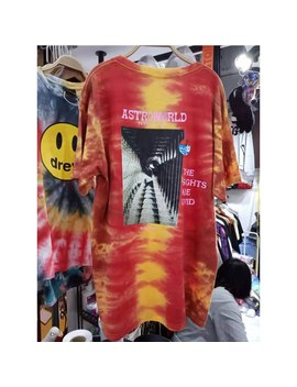 【Real Pictures Labels】Astroworld T Shirt 2019 Men Women Travis Scott T Shirts Red Tie Dye Festival Run Logo Tee by Ali Express.Com